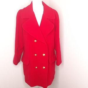 Brooks Brothers Red Wool Pea Coat Long Jacket VNTG
